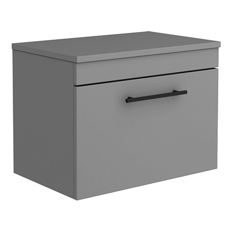Arezzo Wall Hung Countertop Vanity Unit - Matt Grey - 600mm with Industrial Style Black Handle