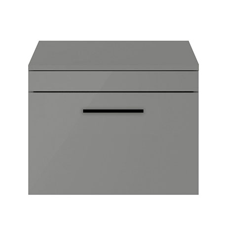 Arezzo 600 Matt Grey Wall Hung Vanity Unit with Worktop + Matt Black Handle