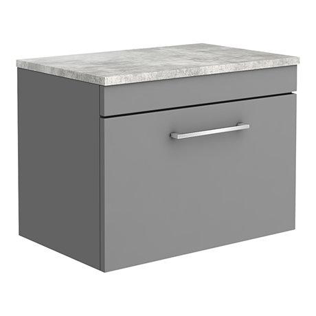 Arezzo Wall Hung Countertop Vanity Unit - Matt Grey - 600mm with Bellato Grey Worktop & Chrome Handl