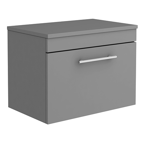Arezzo Wall Hung Countertop Vanity Unit - Matt Grey - 600mm with Industrial Style Chrome Handle