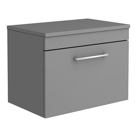 Arezzo 600 Matt Grey Wall Hung Vanity Unit with Worktop + Chrome Handle