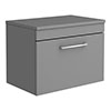 Arezzo Wall Hung Countertop Vanity Unit - Matt Grey - 600mm with Chrome Handle profile small image view 1