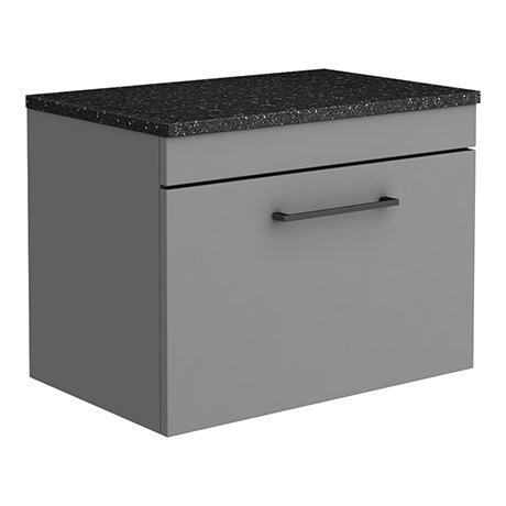 Arezzo Wall Hung Countertop Vanity Unit - Matt Grey - 600mm with Black Worktop & Matt Black Handle