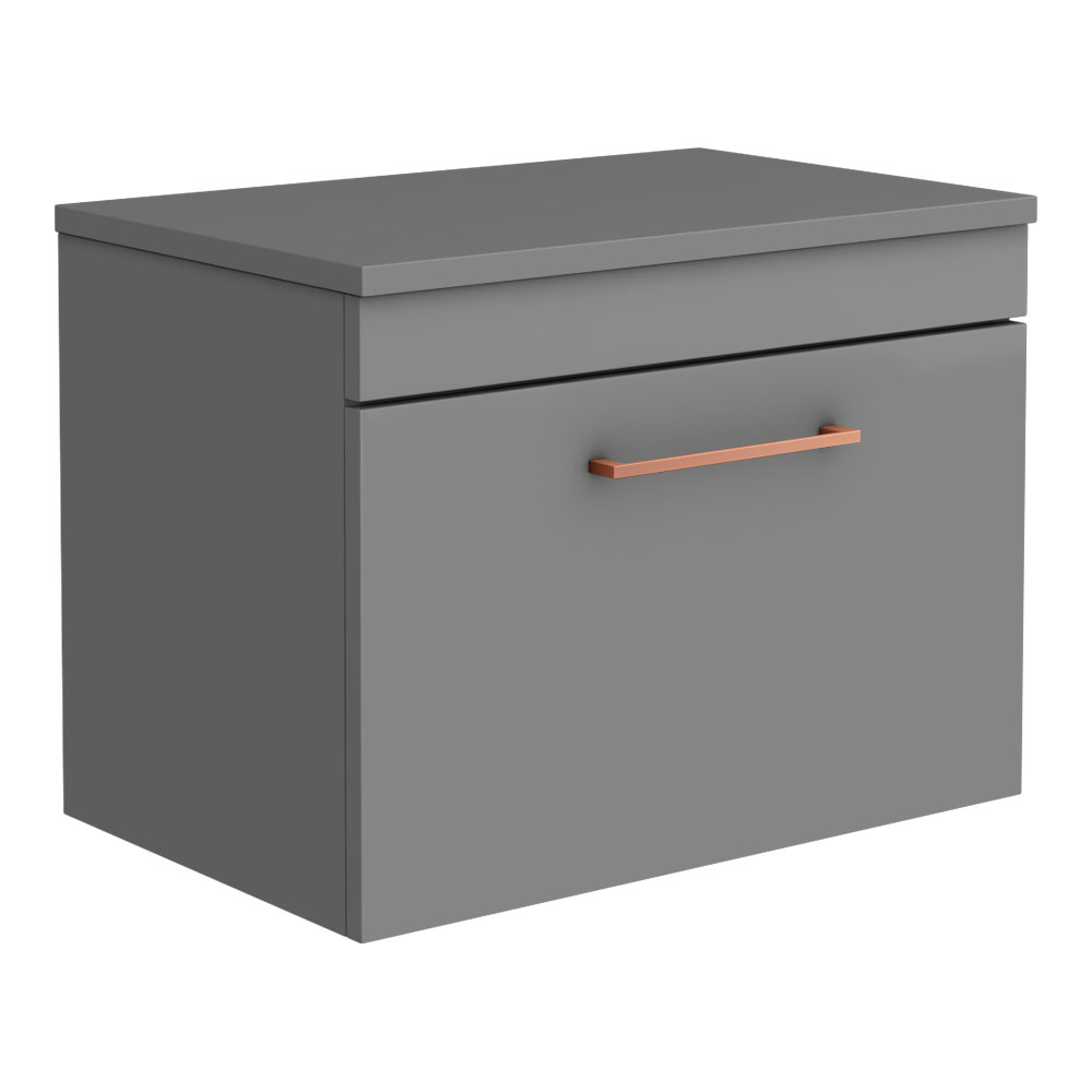 Arezzo 600 Matt Grey Wall Hung Vanity Unit with Worktop + Rose Gold Handle