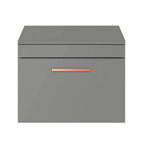 Arezzo 600 Matt Grey Wall Hung Vanity Unit with Worktop + Rose Gold Handle