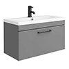 Arezzo Wall Hung Vanity Unit - Matt Grey - 800mm with Matt Black Handle profile small image view 1