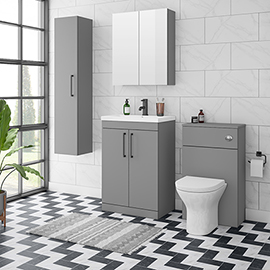 Arezzo Grey Floor Standing Vanity Unit, Tall Cabinet + Toilet Pack with Black Handles