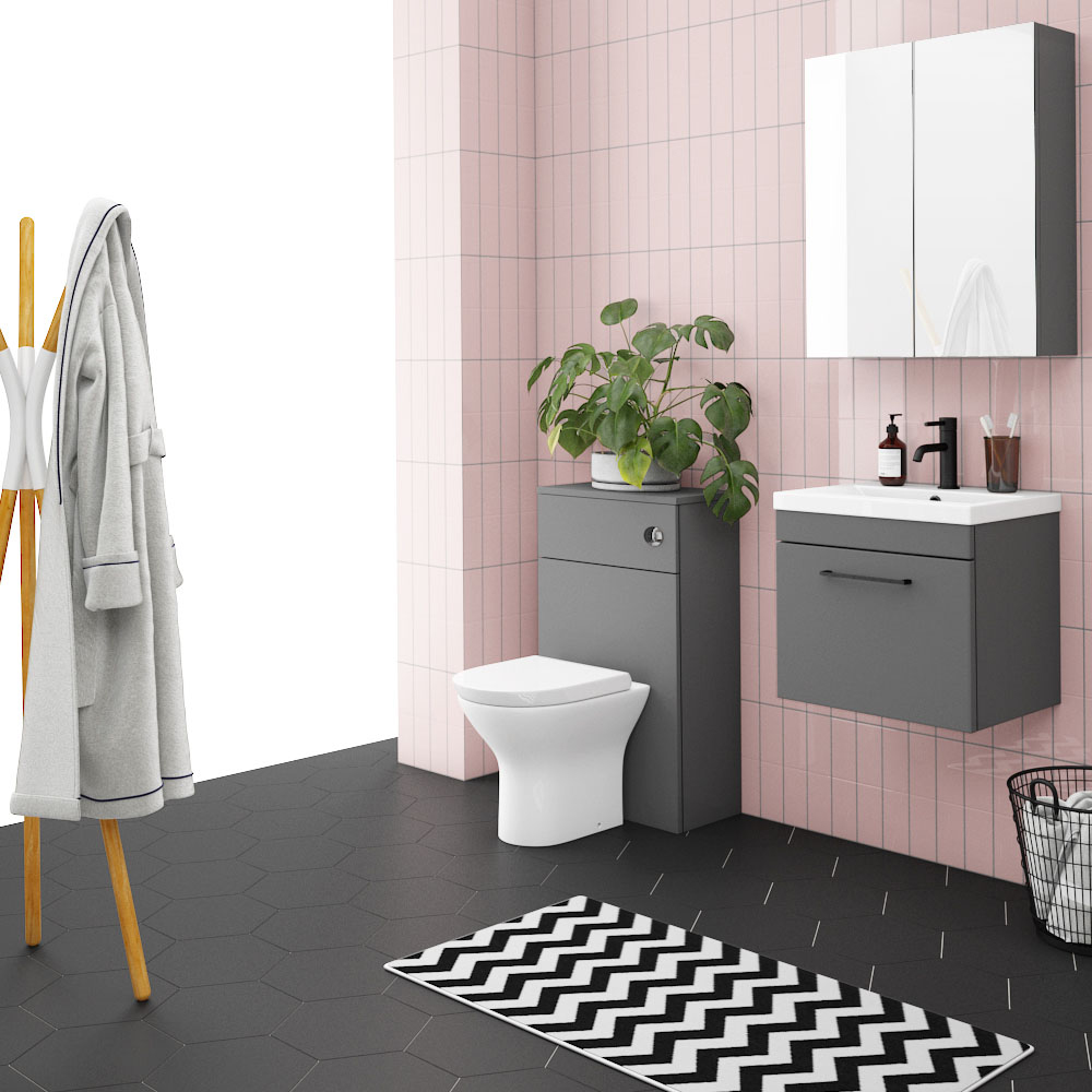 Arezzo Grey Wall Hung Sink Vanity Unit + Toilet Package with Matt Black Handle
