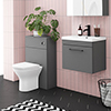 Arezzo Grey Wall Hung Sink Vanity Unit + Toilet Package with Matt Black Handle profile small image view 1