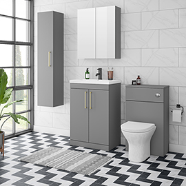Arezzo Grey Floor Standing Vanity Unit, Tall Cabinet + Toilet Pack with Brass Handles