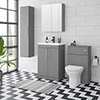 Arezzo Grey Floor Standing Vanity Unit, Tall Cabinet + Toilet Pack with Brass Handles profile small image view 1
