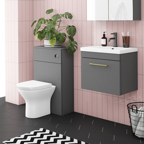 Arezzo Grey Wall Hung Sink Vanity Unit + Toilet Package with Brass Handle