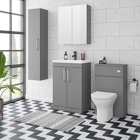 Arezzo Grey Floor Standing Vanity Unit, Tall Cabinet + Toilet Pack with Chrome Handles