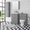 Arezzo Grey Floor Standing Vanity Unit, Tall Cabinet + Toilet Pack with Chrome Handles profile small image view 1