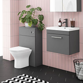 Arezzo Grey Wall Hung Sink Vanity Unit + Toilet Package with Chrome Handle