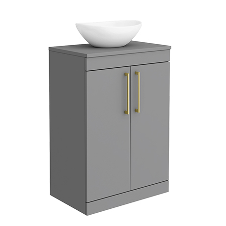Arezzo 600 Matt Grey Floor Standing Vanity Unit with 410 x 330mm Oval Counter Top Basin + Brushed Br