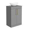 Arezzo Countertop Basin Unit - Grey with Brushed Brass Handles - 600mm inc. Basin profile small image view 1