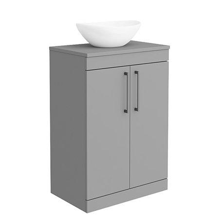 Arezzo 600 Matt Grey Floor Standing Vanity Unit with 410 x 330mm Oval Counter Top Basin + Black Hand
