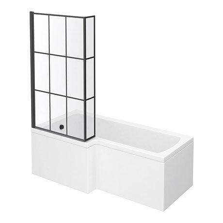 Arezzo Shower Bath - 1700mm L Shaped with Matt Black Grid Screen + Panel