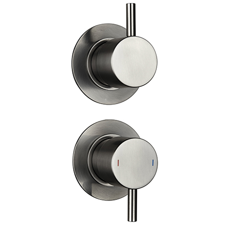 Arezzo Brushed Gunmetal Grey Concealed Individual Stop Tap + Thermostatic Control Shower Valve