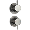 Arezzo Brushed Gunmetal Grey Concealed Individual Stop Tap + Thermostatic Control Shower Valve profile small image view 1