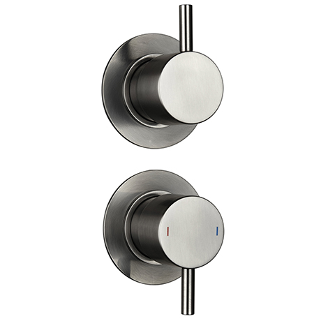 Arezzo Brushed Gunmetal Grey Concealed Individual Diverter + Thermostatic Control Shower Valve