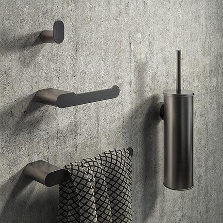 Arezzo Brushed Gunmetal Grey 4-Piece Bathroom Accessory Pack