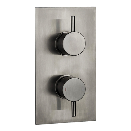 Arezzo Brushed Gunmetal Grey Round Modern Twin Concealed Shower Valve with Diverter