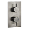 Arezzo Brushed Gunmetal Grey Round Modern Twin Concealed Shower Valve with Diverter profile small image view 1