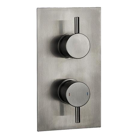 Arezzo Brushed Gunmetal Grey Round Modern Twin Concealed Shower Valve