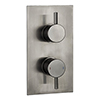Arezzo Brushed Gunmetal Grey Round Modern Twin Concealed Shower Valve profile small image view 1