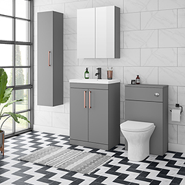 Arezzo Grey Floor Standing Vanity Unit, Tall Cabinet + Toilet Pack with Rose Gold Handles