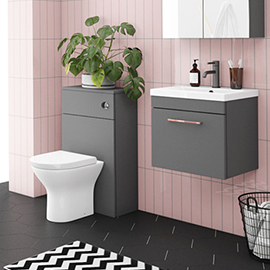 Arezzo Grey Wall Hung Sink Vanity Unit + Toilet Package with Rose Gold Handle