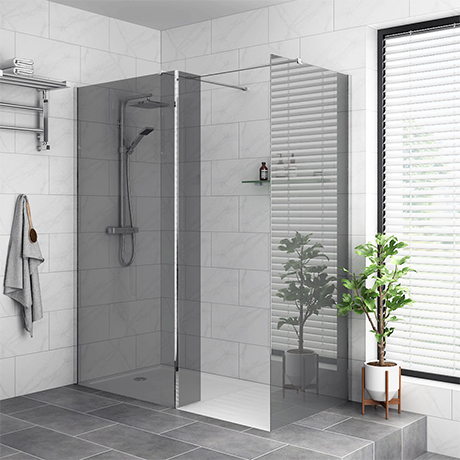 Arezzo 1400 x 900 Grey Tinted Glass Wet Room (inc. 800mm Screen, Return, Side Panel + Tray)