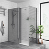 Arezzo 1400 x 900 Grey Tinted Glass Wet Room (inc. 800mm Screen, Return, Side Panel + Tray) profile small image view 1