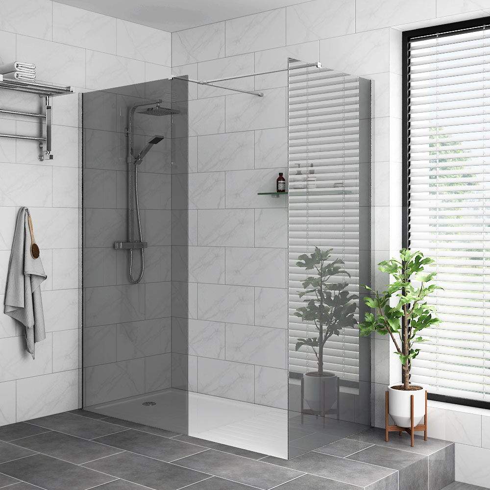 Arezzo 1400 x 900 Grey Tinted Glass Wet Room (Inc. Screen, Side Panel + Tray)