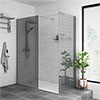 Arezzo 1400 x 900 Grey Tinted Glass Wet Room (Inc. Screen, Side Panel + Tray) profile small image view 1