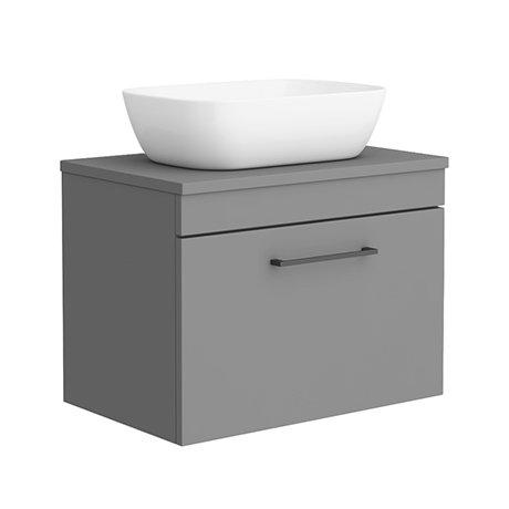 Arezzo 600 Matt Grey Wall Hung Vanity Unit with 465 x 325mm Counter Top Basin + Matt Black Handle