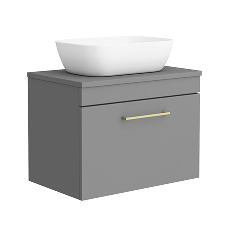 Arezzo 600 Matt Grey Wall Hung Vanity Unit with 465 x 325mm Counter Top Basin + Brass Handle