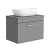 Arezzo Wall Hung Countertop Basin Unit - Grey with Brushed Brass Handle - 600mm inc. Basin profile small image view 1