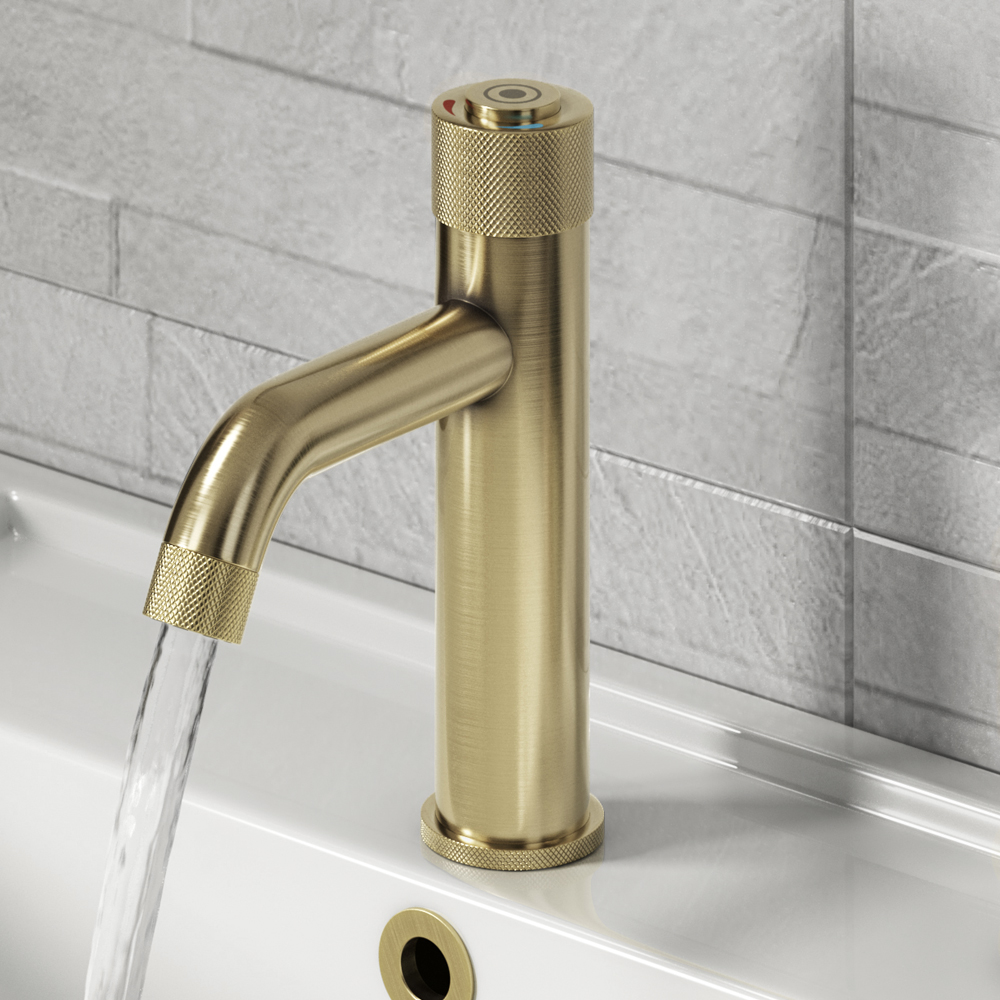 Arezzo Brushed Brass Industrial Style 1-Touch Basin Tap