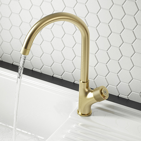 Arezzo Brushed Brass Industrial Style 1-Touch Kitchen Mixer Tap