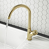 Arezzo Brushed Brass Industrial Style 1-Touch Kitchen Mixer Tap profile small image view 1