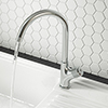 Arezzo Chrome Industrial Style 1-Touch Kitchen Mixer Tap profile small image view 1