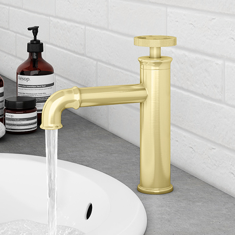 Arezzo Brushed Brass Industrial Style Mono Basin Mixer