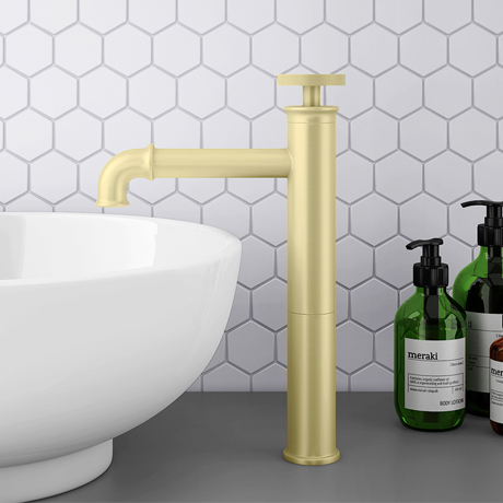 Arezzo Brushed Brass Industrial Style High Rise Basin Mixer