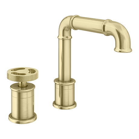 Arezzo Brushed Brass 2TH Industrial Style Deck Mounted Basin Mixer