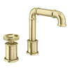 Arezzo Brushed Brass 2TH Industrial Style Deck Mounted Basin Mixer profile small image view 1