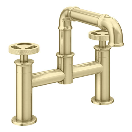 Arezzo Brushed Brass Industrial Style Bath Filler