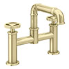 Arezzo Brushed Brass Industrial Style Bath Filler profile small image view 1